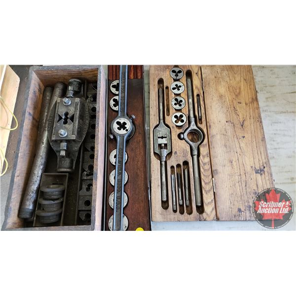 Estate Lot ~ Tools: Combo: Tap & Die Sets & Pipe Threader (See Pics!)
