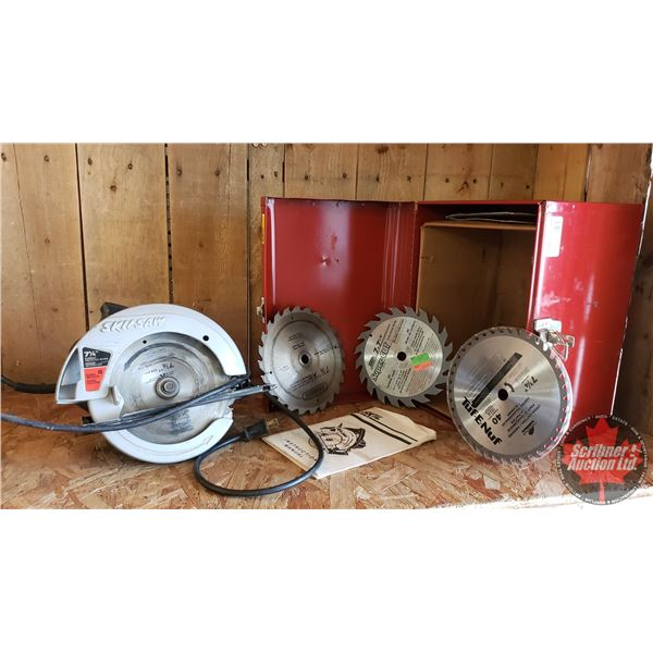 "Estate Lot ~ Tools: SKIL Circular Saw in Metal Box (14""L x 10""W x 10""H)"