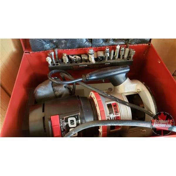 """Estate Lot ~ Tools: Sears Router with Variety of Bits in Metal Carry Case (14""""L x 10""""W x 10""""H) (See"""
