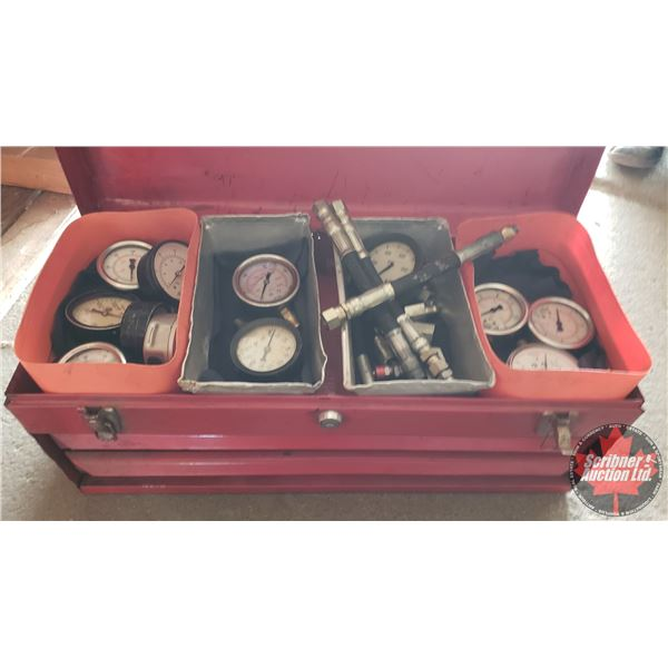 """Estate Lot ~ Tools: Variety of Hydraulic Gauges & Fittings in Red Metal Tool Box (21""""L x 9""""W x 9""""H)"""