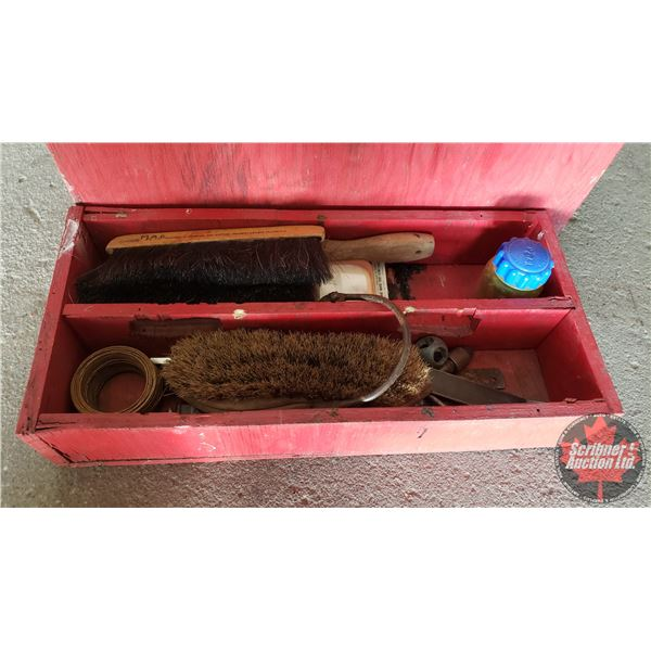 Estate Lot ~ Tools: Home Made Wood Tool Box with Contents (30' Tow Strap, Staple Gun, Soldering Iron