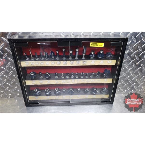 """Estate Lot ~ Tools: Router Bit Set in Wall Mount Cabinet (36pcs) (11""""H x 15""""W x 2-1/2""""D) (See Pics!)"""