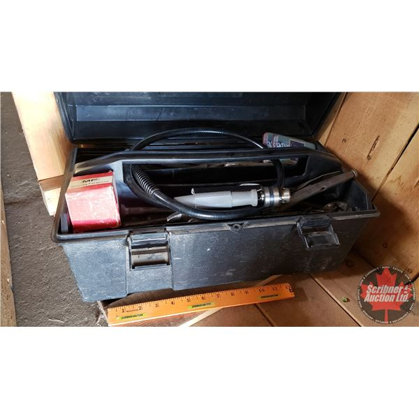 Estate Lot ~ Tools: Plastic Tool Box with Contents (Incl. Punches & Cold Chisels, Snap Ring Pliers,