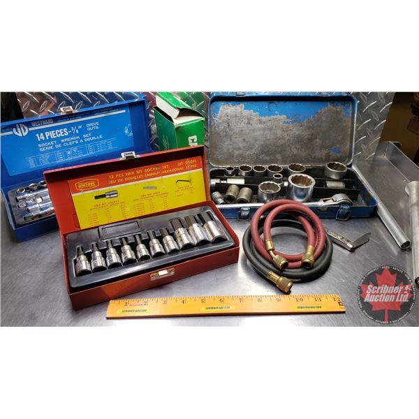 """Estate Lot ~ Tools: Tray Lot (Incl. Westward Socket Set, Unitool Hex Bit Socket Set, Partial 1/2"""" Dr"""