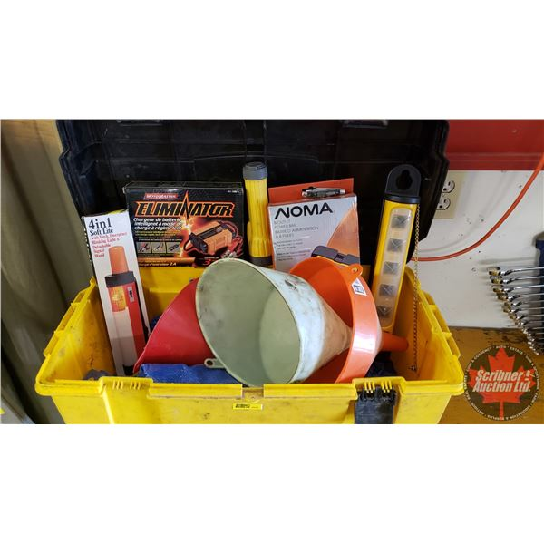 Estate Lot ~ Tools: Tool Box with Contents (Funnels, Tarp, Intelligent Battery Charger, Flashlight,