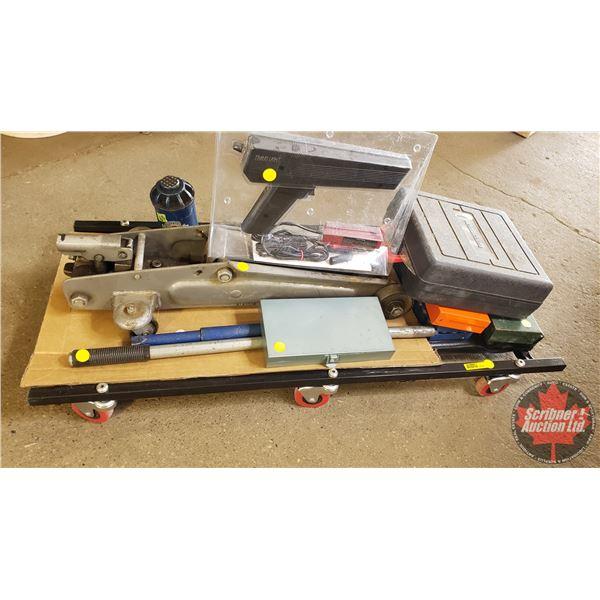 Estate Lot ~ Tools: Creeper Combo (Timing Light, 12v Impact Gun, Floor Jack, Bottle Jack, Socket Set