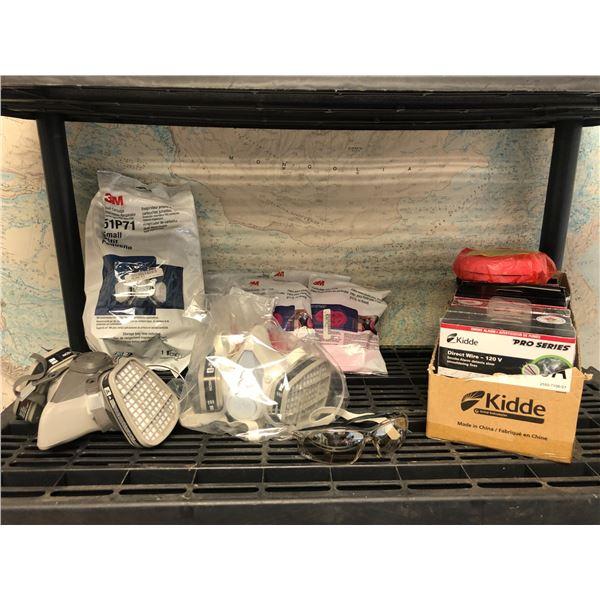 Shelf of new items - 3 respirators w/ 3M filters/ 7 Kidde Pro Series smoke detectors & 1 pair of Uve