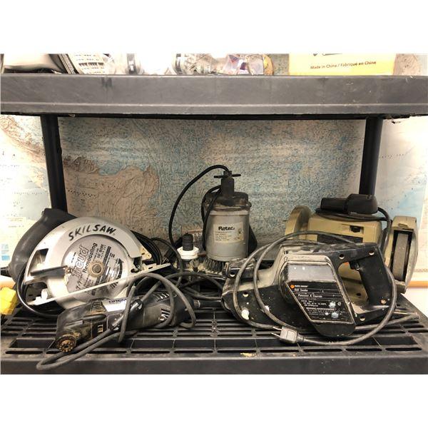 Shelf lot of 4 power tools & submersible sump pump