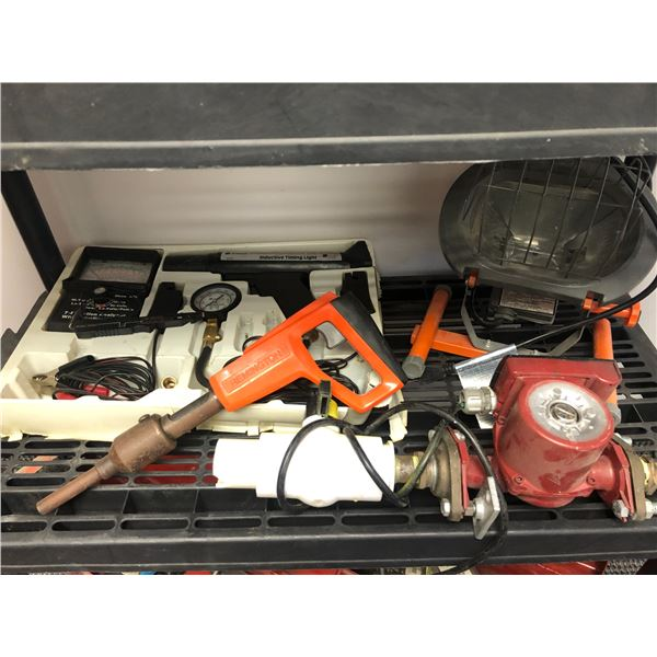 Shelf lot of 4 assorted items - timing light/ work light/ electric barrel pump & Remington powder ac
