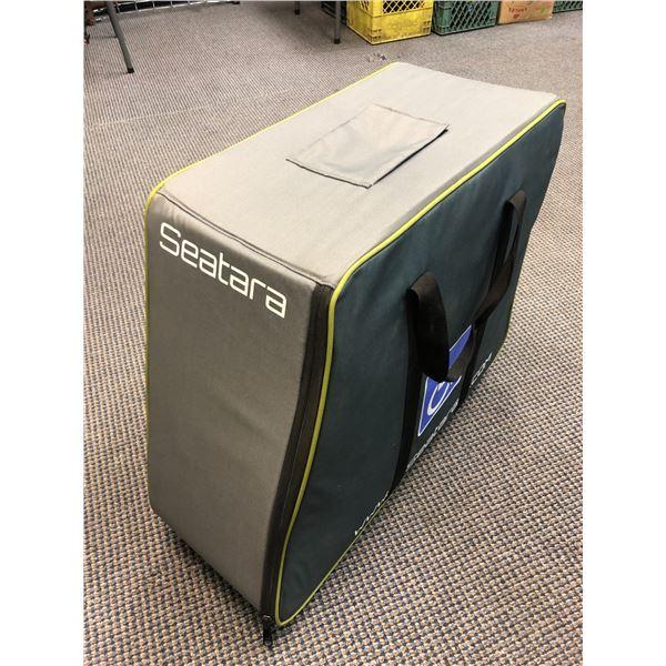 Seatara wheelable foldup wheelchair w/ storage/ travel case (white & grey)