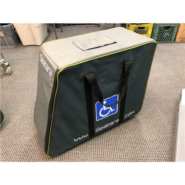 Seatara wheelable foldup wheelchair w/ storage/ travel case (black)