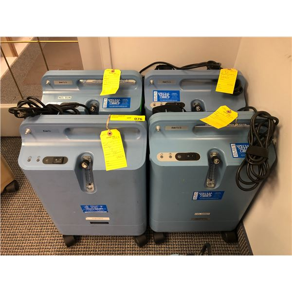 Group of 4 EverFlo Respironics oxygen concentrators (AS IS FOR PARTS OR REPAIR ONLY)
