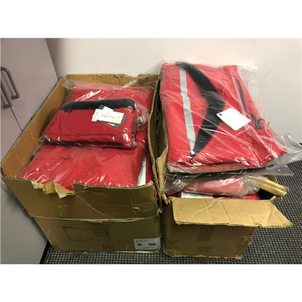 Two boxes full of medical assist buggy bags