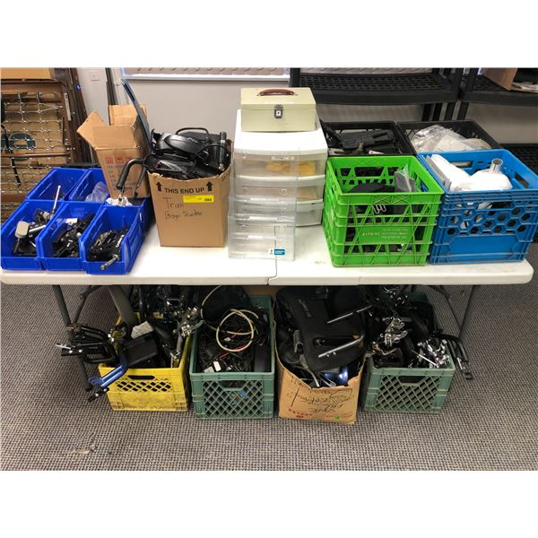Large group of boxes filled w/ assorted medical assist scooter & wheelchair parts & accessories