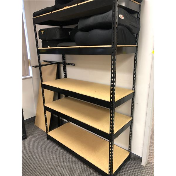 Approx. 6ft. tall x 4 1/2ft. wide black adjustable shelving unit