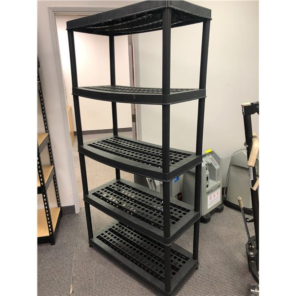 Approx. 6ft. tall x 3 1/2ft. wide black plastic shelving unit