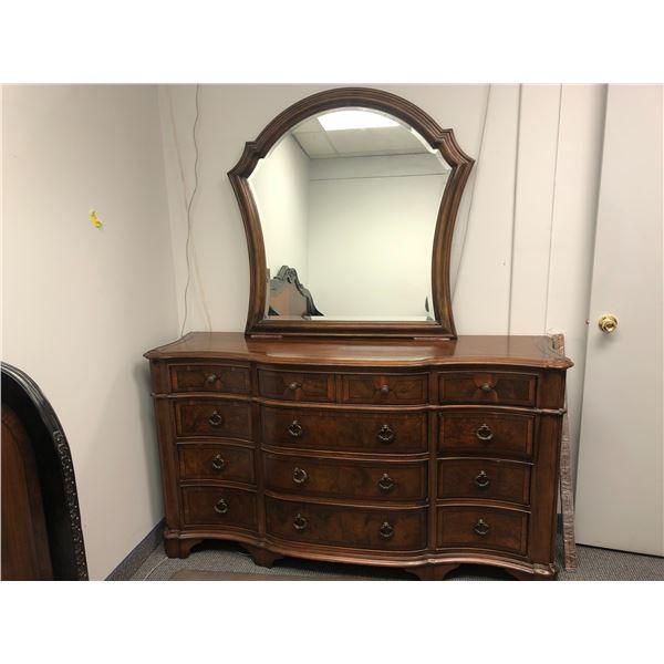 Elegant 12 drawer bedroom dresser w/ mirror