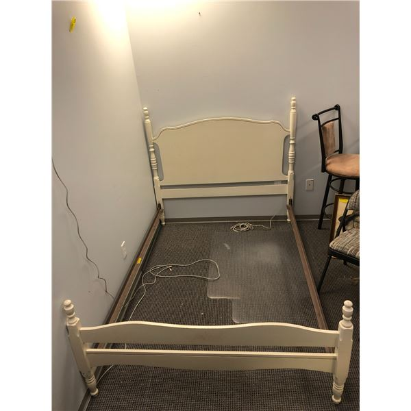 White wooden double size bed - headboard/ footboard & rails