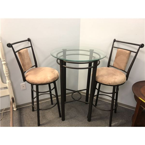Three pc. bistro style glass top table w/ 2 matching chairs