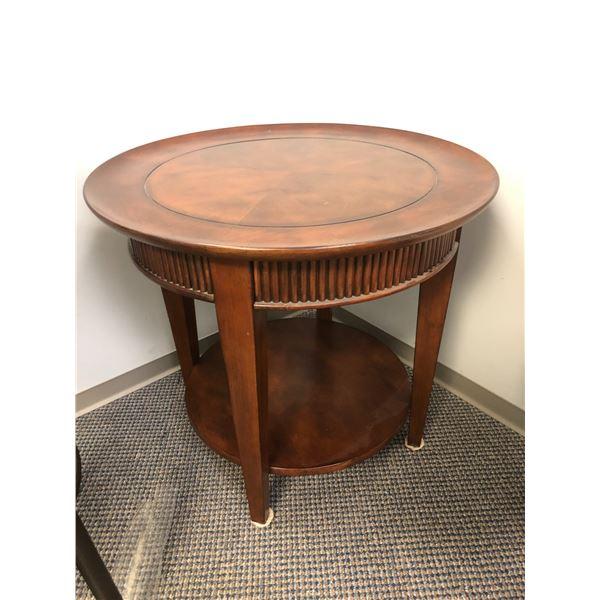 Round mahogany end table
