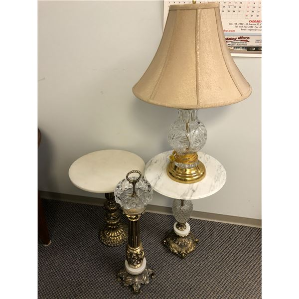 Group of decorative accent pcs. - 2 white onyx side tables/ pedestal ash tray & crystal table lamp