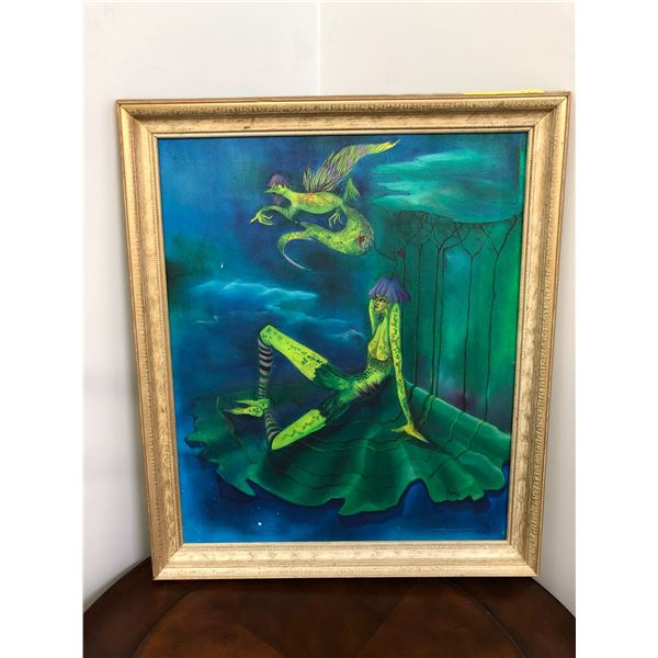 Framed original oil on canvas painting signed Dunn 1976 - approx. 23in x 27in