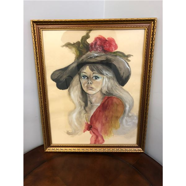 """Framed original watercolor painting """"woman w/ hat"""" signed bottom right corner - approx. 18in x 22in"""