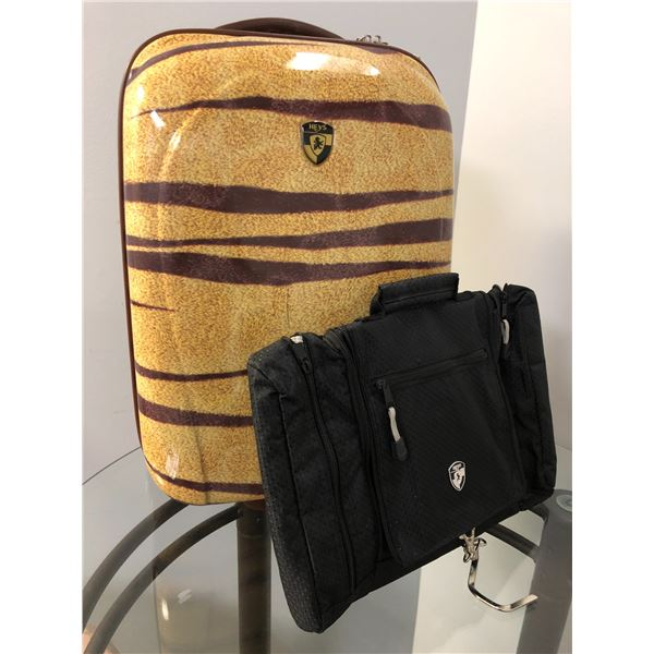 Heys hard-shell carry on suitcase w/ Heys black garment bag