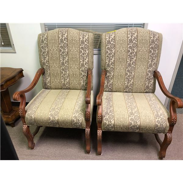 Pair of carved wood large upholstered accent chairs