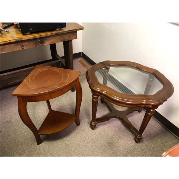 Glass top side table & small wooden corner table
