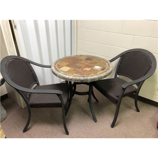 Three pc. patio set - round ceramic tile top table w/ 2 chairs