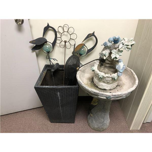 Bird bath/ decorative yard pcs. & large wicker plant