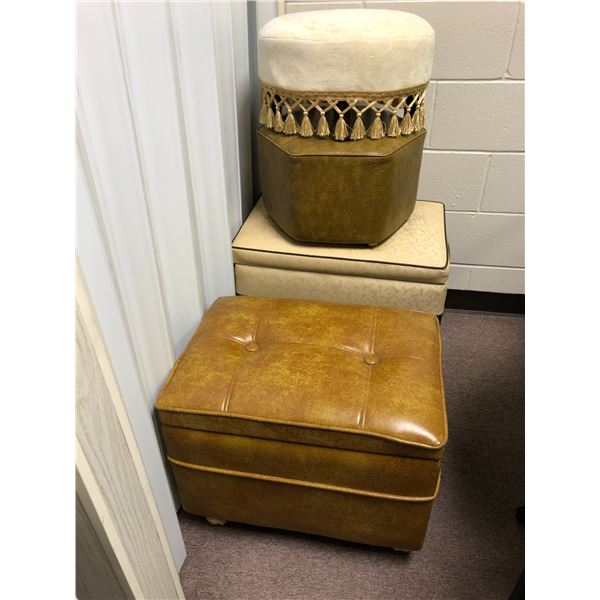 Group of 4 vintage hassocks/ stools