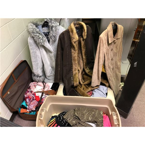 Large group of assorted clothing - shirts/ pants/ faux fur & leather clothing