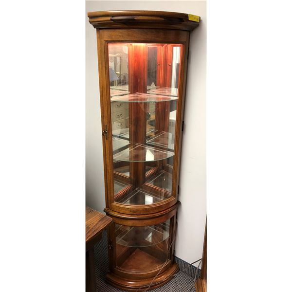 Lighted glass front corner display cabinet