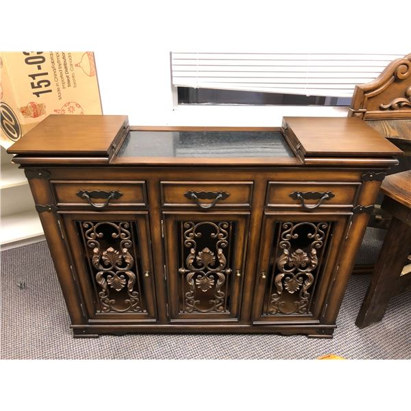 Wood crafted w/ metal front panel accents bar cabinet w/ wall mirror