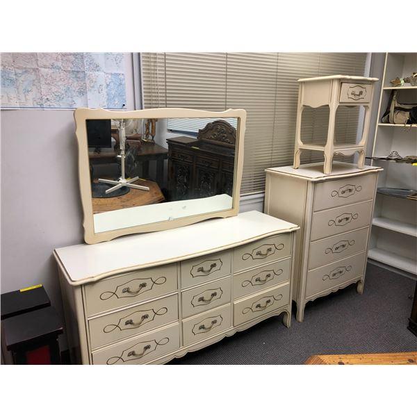 White 4 pc bedroom dresser set - 9 drawer dresser w/ mirror/ 4 drawer highboy dresser & single drawe