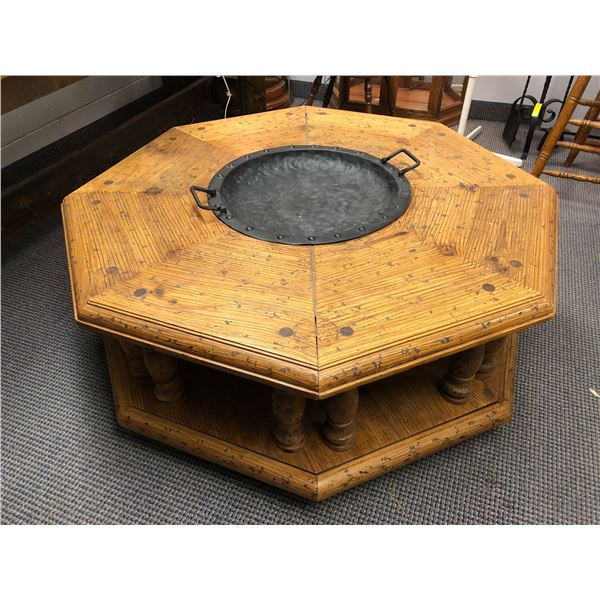Handcrafted wooden octagon coffee table w/ hammered metal bowl insert