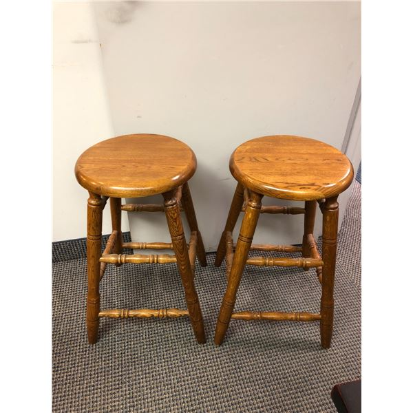 Pair of solid oak bar stools