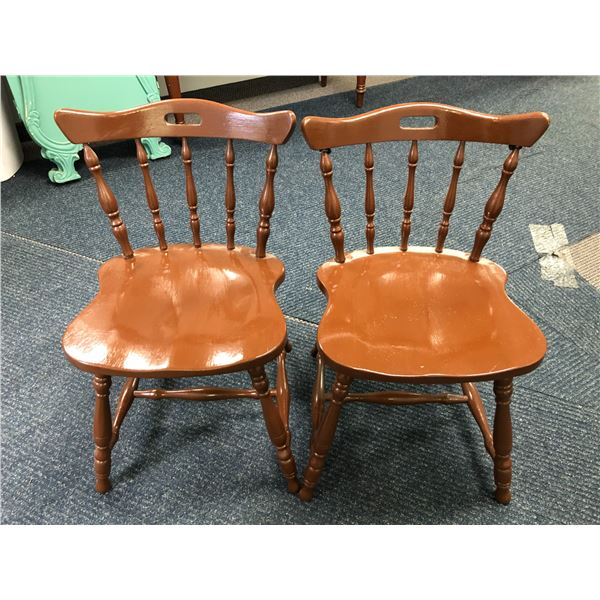 Pair of brown maple side chairs