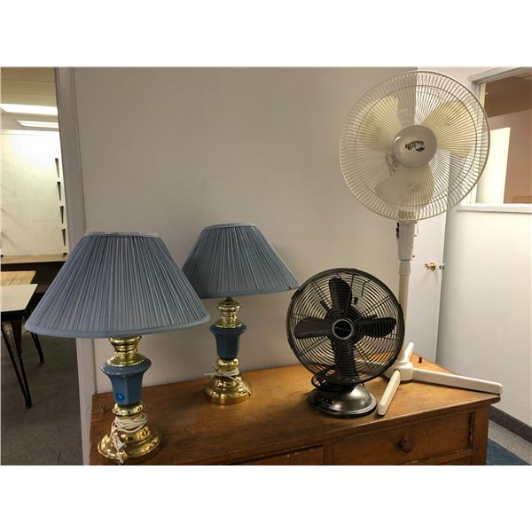 Two room fans & pair of blue & brass table lamps