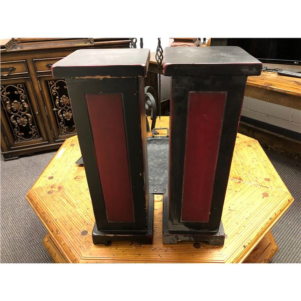 Pair of approx. 2ft tall painted black & red pedestals