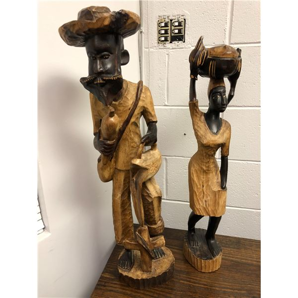 Man & woman carved wooden figurines - South American approx. 2ft tall