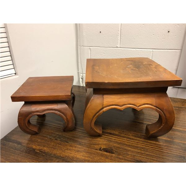 Two solid wood crafted plant stands
