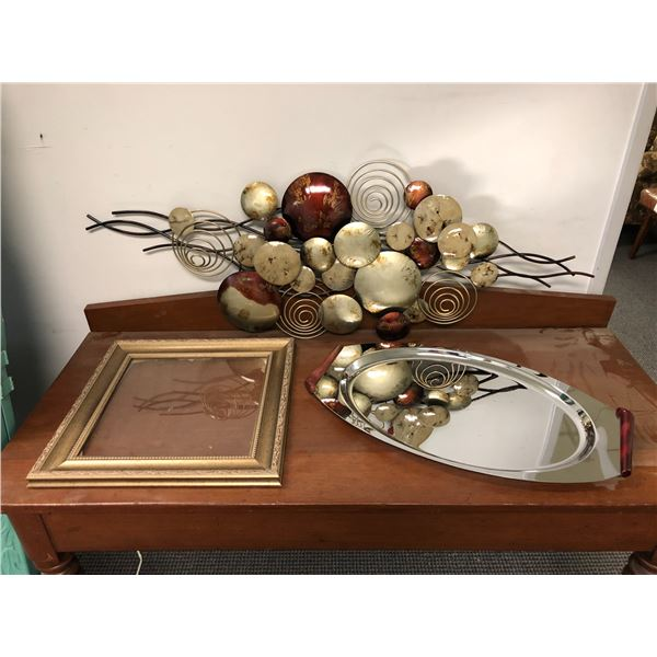Abstract metal wall art hanging/ large serving platter & small picture frame
