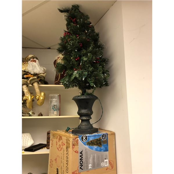 Group of assorted Christmas decorative items - 2 small Christmas trees w/ lights/ 3 Santa figures et