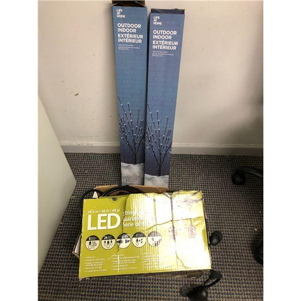 48ft LED string lights set & 2 white LED lawn stakes