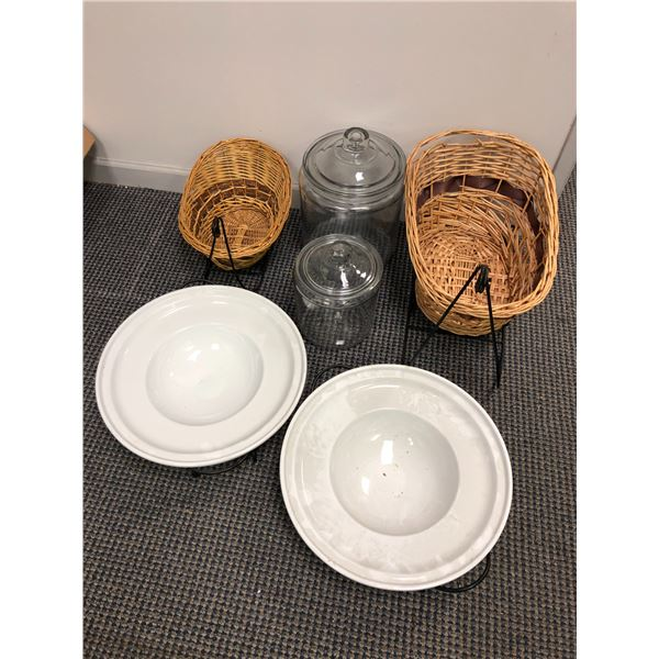 Group of decorative household items - 2 wicker baskets w/ metal stands/ 2 lidded glass jars/ 2 white