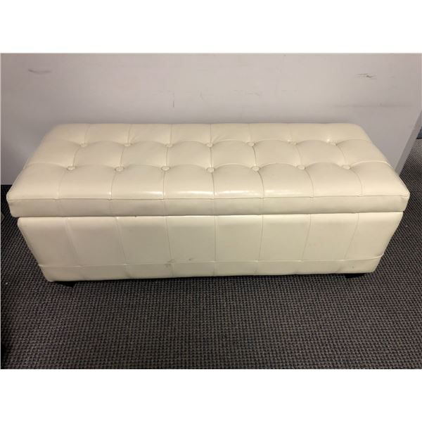 White leather upholstered bench seat w/ under seat storage