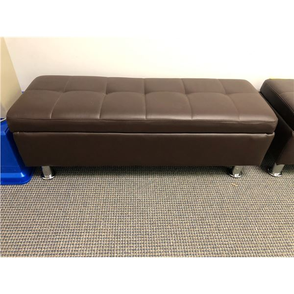 Brown leather upholstered bench seat w/ under seat storage